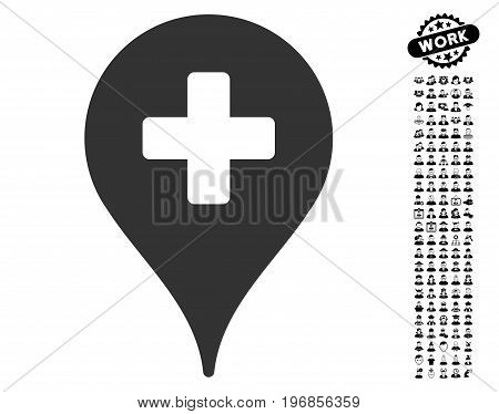 Clinic Map Pointer icon with black bonus job design elements. Clinic Map Pointer vector illustration style is a flat gray iconic element for web design, app user interfaces.