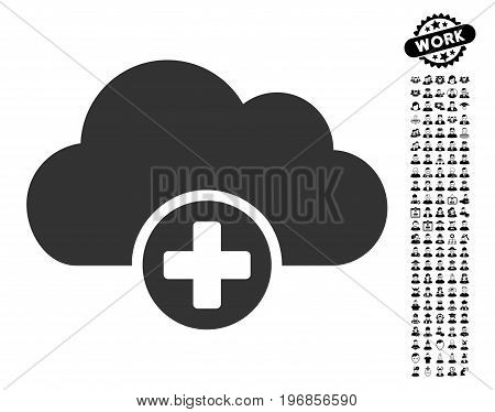 Cloud Medicine icon with black bonus profession pictograph collection. Cloud Medicine vector illustration style is a flat gray iconic element for web design, app user interfaces.
