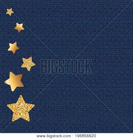 Dark blue jeans texture. Denim background with golden sparklind stars. Can be used for wallpaper pattern fills web page background surface textures. Denim texture