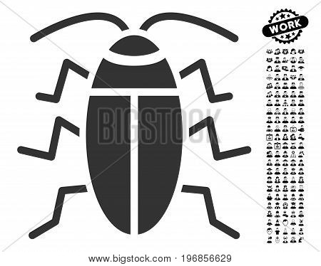 Cockroach icon with black bonus work icon set. Cockroach vector illustration style is a flat gray iconic symbol for web design, app user interfaces.