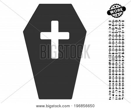 Coffin icon with black bonus profession design elements. Coffin vector illustration style is a flat gray iconic symbol for web design, app user interfaces.