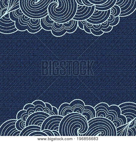 Dark blue jeans texture. Denim background with hand drawn lace. Can be used for wallpaper pattern fills web page background surface textures. Denim texture