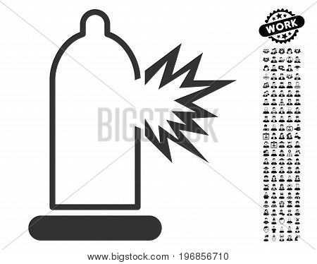 Condom Damage icon with black bonus work pictures. Condom Damage vector illustration style is a flat gray iconic symbol for web design, app user interfaces.