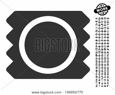 Condom icon with black bonus profession symbols. Condom vector illustration style is a flat gray iconic element for web design, app user interfaces.