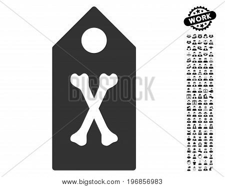 Dead Marker icon with black bonus work pictograms. Dead Marker vector illustration style is a flat gray iconic symbol for web design, app user interfaces.
