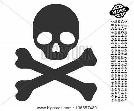 Death icon with black bonus professional pictograms. Death vector illustration style is a flat gray iconic element for web design, app user interfaces.