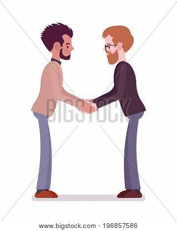 Businessmen in casual wear handshake. Making agreement to strike a big deal, new job, start a relationship. Formal manners concept. Vector flat style cartoon illustration, isolated, white background