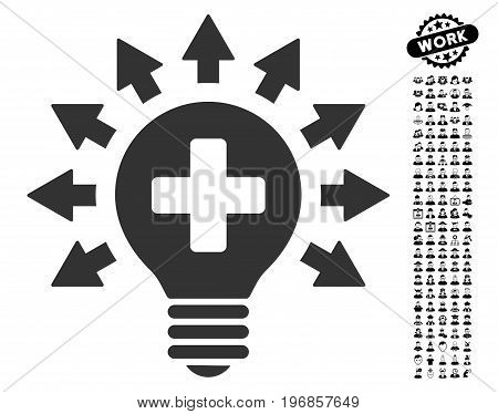 Disinfection Lamp icon with black bonus men images. Disinfection Lamp vector illustration style is a flat gray iconic element for web design, app user interfaces.