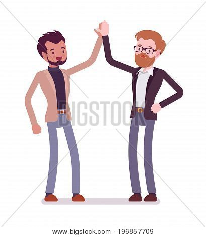 Businessmen highfive gesture. Friends building a connection, showing enthusiasm. Formal manners and greeting etiquette concept. Vector flat style cartoon illustration, isolated, white background