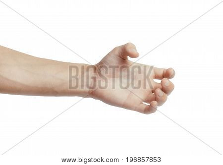 Male hand holding like a bottle, card or something else isolated on a white background.