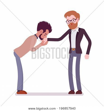Businessmen kiss gesture. Showing courtesy, empathy, creating an awkward moment, nonverbal communication. Formal manners concept. Vector flat style cartoon illustration, isolated, white background