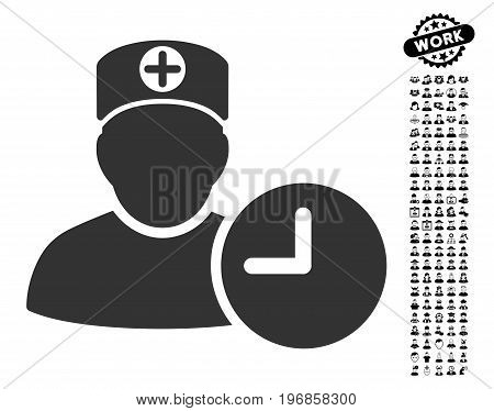 Doctor Schedule Clock icon with black bonus work pictures. Doctor Schedule Clock vector illustration style is a flat gray iconic element for web design, app user interfaces.