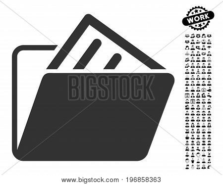 Document Folder icon with black bonus job pictograph collection. Document Folder vector illustration style is a flat gray iconic symbol for web design, app user interfaces.