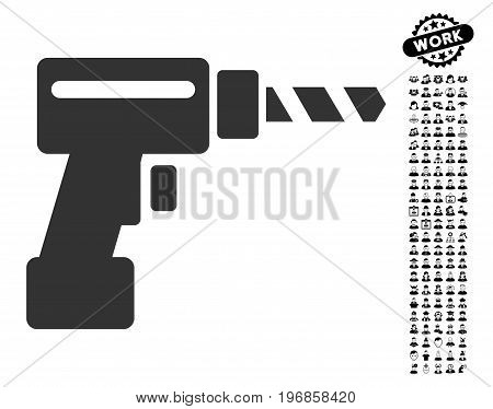 Drill icon with black bonus men pictures. Drill vector illustration style is a flat gray iconic symbol for web design, app user interfaces.