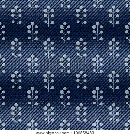 Dark blue jeans seamless texture. Denim background with branches with berries. Can be used for wallpaper pattern fills web page background surface textures. Denim texture