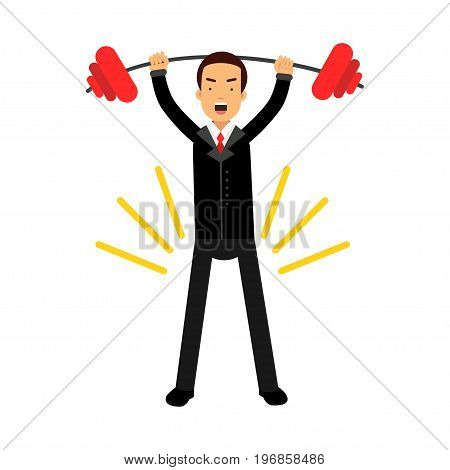 Businessman character lifting barbell up over head achieving his goal, business challenge and success vector Illustration on a white background