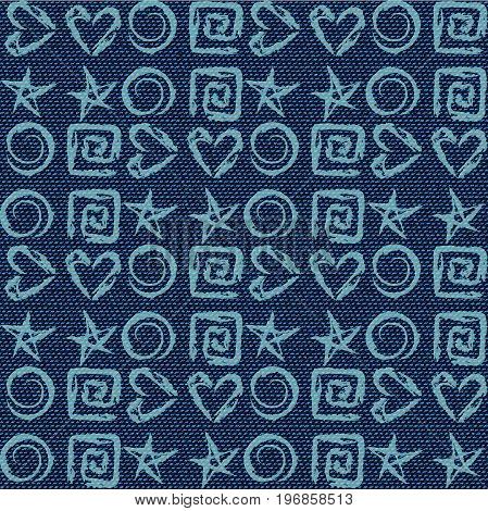 Dark blue jeans seamless texture. Denim background with stars hearts spirals. Can be used for wallpaper pattern fills web page background surface textures. Denim texture