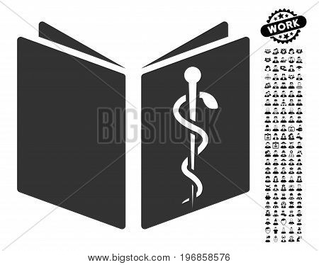 Drug Handbook icon with black bonus job clip art. Drug Handbook vector illustration style is a flat gray iconic element for web design, app user interfaces.