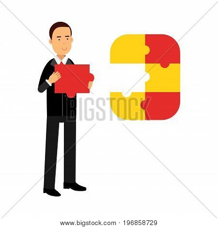 Businessman character assembling colorful jigsaw puzzle vector Illustration on a white background