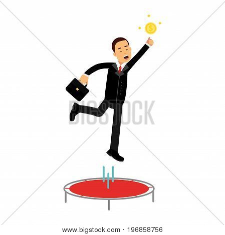 Businessman using a trampoline trying to catch an idea vector Illustration on a white background