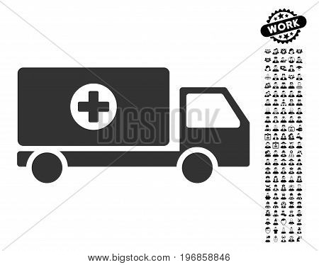 Drugs Shipment icon with black bonus job pictograms. Drugs Shipment vector illustration style is a flat gray iconic symbol for web design, app user interfaces.