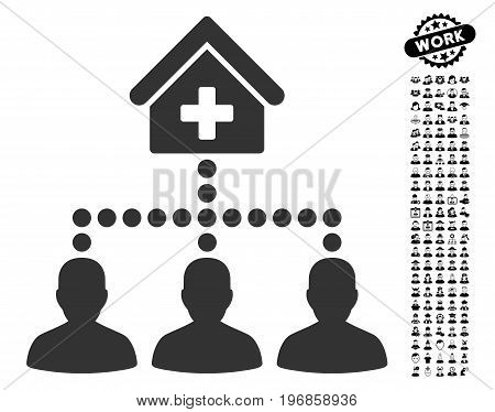 Drugstore Clients icon with black bonus job clip art. Drugstore Clients vector illustration style is a flat gray iconic symbol for web design, app user interfaces.