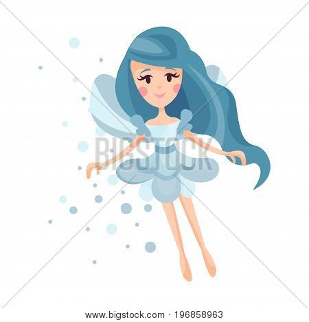 Beautiful fairy with wings, long hair and dress in cornflower blue colors flying surrounded by sparks vector Illustration on a white background