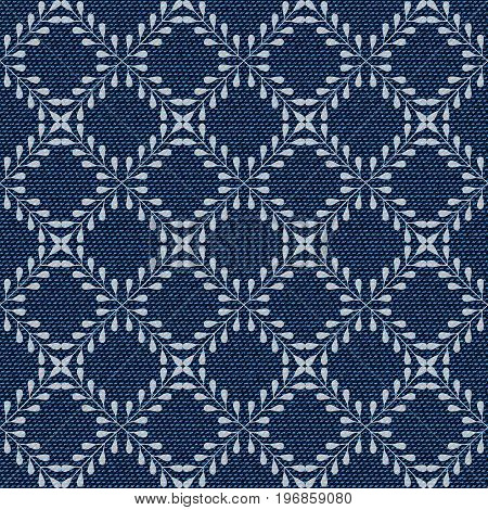 Dark blue jeans seamless texture. Denim background with floral geometric pattern. Can be used for wallpaper pattern fills web page background surface textures. Denim texture