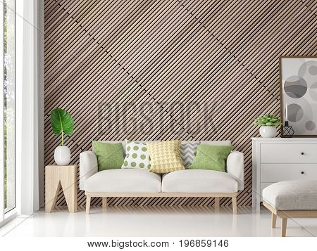 Modern contemporary living room with wood lattice 3d rendering image.There are white floor decorate wall with wooden lattice