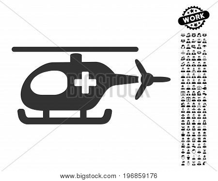 Emergency Helicopter icon with black bonus profession design elements. Emergency Helicopter vector illustration style is a flat gray iconic element for web design, app user interfaces.