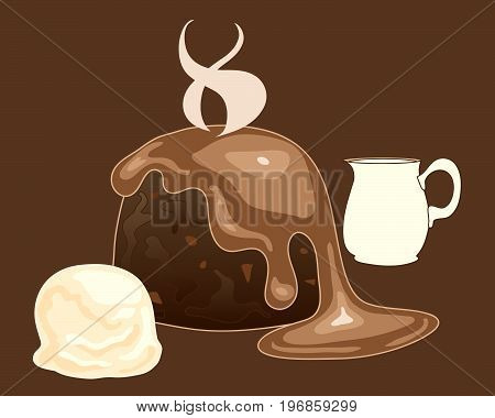 an illustration of a hot chocolate pudding with toffee sauce vanilla ice cream and a jug of heavy cream on a dark background