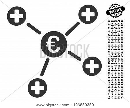 Euro Medical Links icon with black bonus job pictograph collection. Euro Medical Links vector illustration style is a flat gray iconic element for web design, app user interfaces.