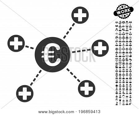 Euro Medical Links icon with black bonus professional symbols. Euro Medical Links vector illustration style is a flat gray iconic symbol for web design, app user interfaces.