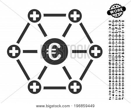 Euro Medical Network icon with black bonus professional pictograph collection. Euro Medical Network vector illustration style is a flat gray iconic symbol for web design, app user interfaces.