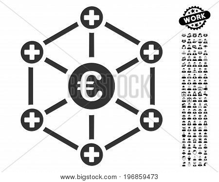 Euro Medical Network icon with black bonus professional pictograms. Euro Medical Network vector illustration style is a flat gray iconic symbol for web design, app user interfaces.