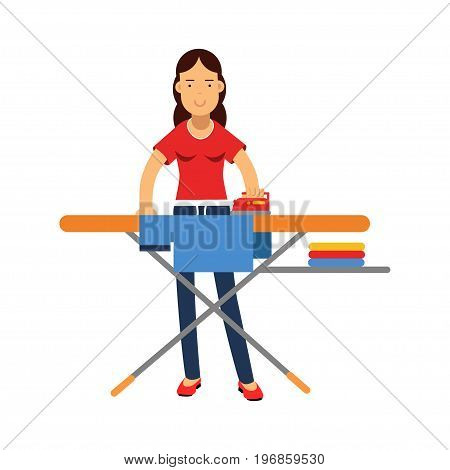Beautiful young brunette woman ironing clothes on an ironing board, home cleaning and homework vector Illustration on a white background