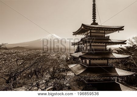 FUJIKAWAGUCHIKO, JAPAN - APRIL 14, 2017 - Mount Fuji and the iconic five-level Chureito Pagoda on a clear spring day