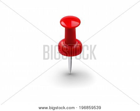 Realistic red push pin isolated on white background. Vector illustration
