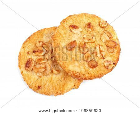 Cereal biscuits, isolated on a white background. An oatmeal, sweet, homemade cookies. Shortbread cookies. Pastry products. Two tasty oatmeal biscuits.