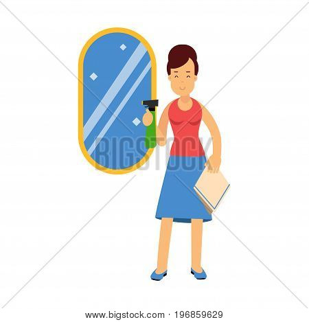 Beautiful young brunette woman cleaning mirror using cleaner sprayer, home cleaning and homework vector Illustration on a white background