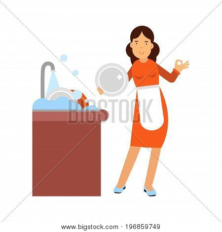 Beautiful young brunette woman housewife washing dishes in the kitchen, home cleaning and homework vector Illustration on a white background