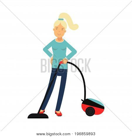 Beautiful young blonde woman housewife cleaning the floor with vacuum cleaner, home cleaning and homework vector Illustration on a white background