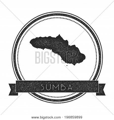Sumba Map Stamp. Retro Distressed Insignia. Hipster Round Badge With Text Banner. Island Vector Illu