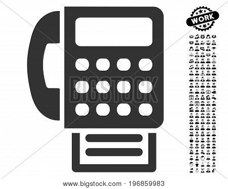 Fax icon with black bonus men symbols. Fax vector illustration style is a flat gray iconic symbol for web design, app user interfaces.
