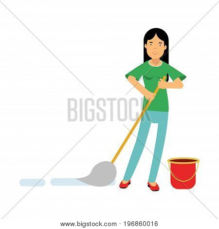 Beautiful young brunette woman housewife cleaning the floor with a mop and a bucket of water, home cleaning and homework vector Illustration on a white background