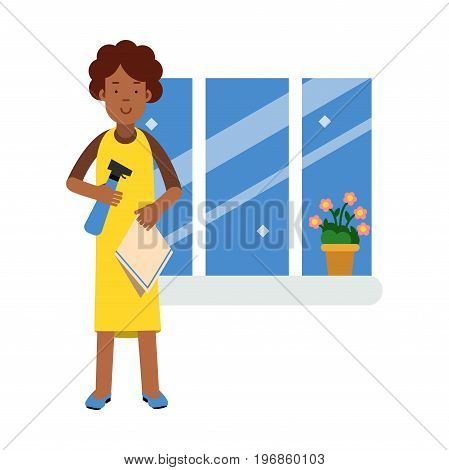 Beautiful young black woman washing window with cloth and cleaner sprayer, home cleaning and homework vector Illustration on a white background