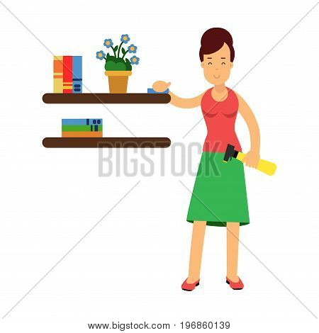 Beautiful young brunette woman housewife wiping dust from shelves, home cleaning and homework vector Illustration on a white background