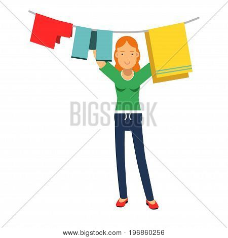 Beautiful young redhead woman hanging wet clothes out to dry, home cleaning and homework vector Illustration on a white background