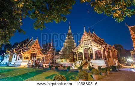 Wat Phra Sing temple with  twilight time, Chiang Mai, Thailand.