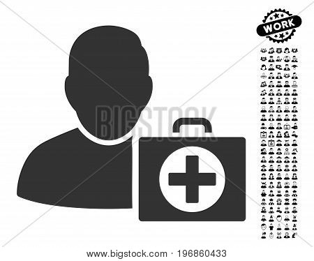 First Aid Man icon with black bonus men pictures. First Aid Man vector illustration style is a flat gray iconic symbol for web design, app user interfaces.
